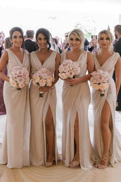 Simple V Neck Sleeveless Sheath Cheap Pleated Long Bridesmaid Dresses with Slit N2071
