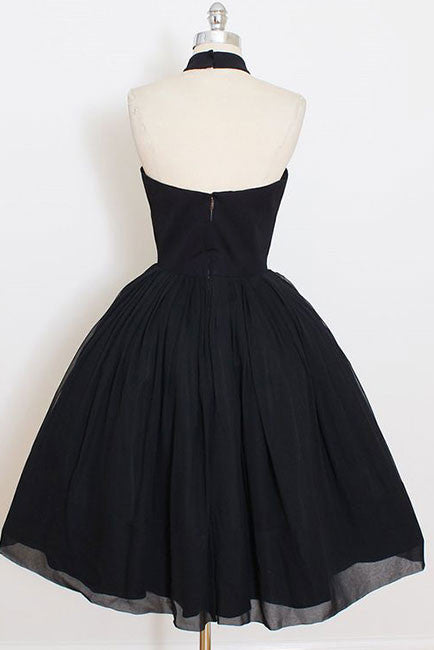 Black Sleeveless Homecoming Dress, Simple Halter Party Dresses, Tea Length Graduation Dress N1074
