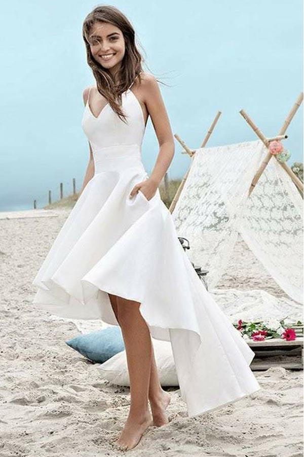 Spaghetti straps v neck high low short prom dress beach for Short beach style wedding dresses
