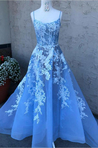 Blue Spaghetti Straps Prom Dress with Lace Appliques, A Line Sexy Long Graduation Dress N1746