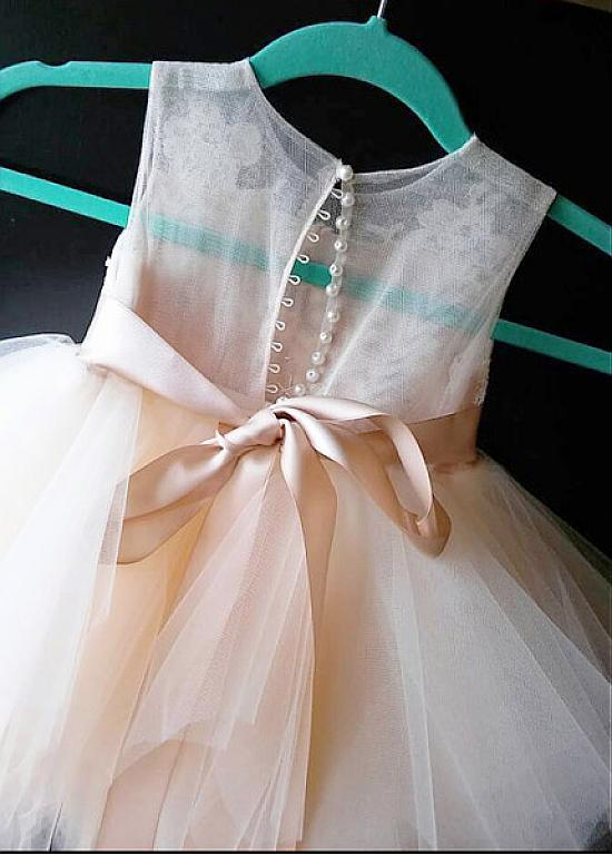 Cheap Tulle Flower Girl Dress with Lace, Cute Flower Girl Dress with Bow Belt F050