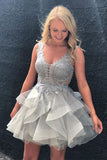 Silver Gray V Neck Sleeveless Tulle Homecoming Dress, Mini Tiered Prom Dress with Appliques