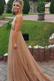 Spaghetti Strap Backless Sequins Prom Dress, Sexy Sparkly V Neck Party Dresses N1288