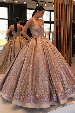 782a8c2b4efe Shiny Spaghetti Strap Ball Gown Sweetheart Prom Dress, Floor Length Sequin  Party Dress N1334