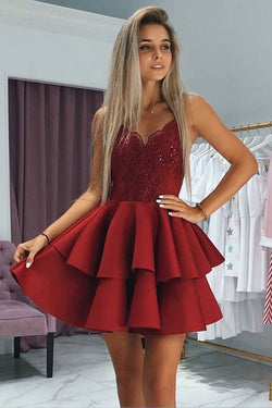 Burgundy Spaghetti Strap Two Layers Satin Short Prom Dress with Appliques