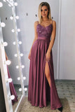 Spaghetti Straps Floor Length Prom Dress with Appliques Beading, A Line Long Formal Dress N2460