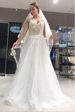 Spaghetti Strap Long Tulle Prom Dress with Lace, Simple Backless Beach Wedding Dresses