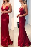 Simple Spaghetti Straps V Neck Dark Red Mermaid Long Evening Prom Dresses N797
