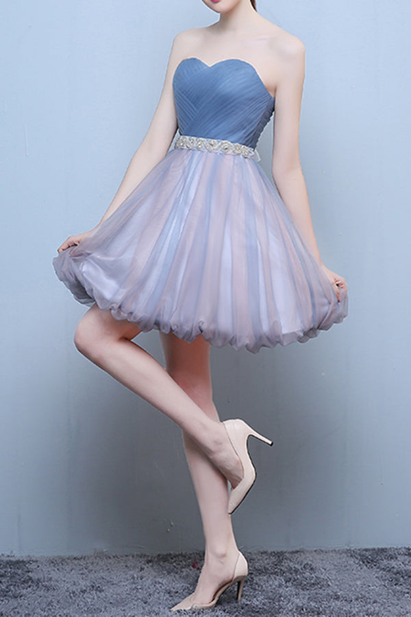 Princess Steel Blue Sweetheart Tulle Short Homecoming Dress, Cute Prom Dress with Beads