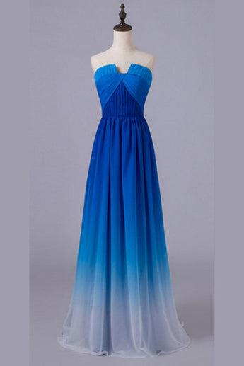 Royal Blue Gradient Ombre Notched Neck Long Chiffon Prom Dresses,Formal Dresses,N672