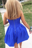 Royal Blue Strapless Sweetheart Homecoming Dress, Simple A Line Short Graduation Dress N844