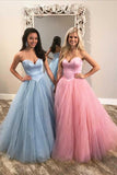 Puffy Sweetheart Blue/Pink Tulle Prom Dress Cheap Strapless Floor Length Party Dress