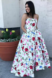 A-Line Strapless High Low White Printed Prom Dress with Pockets, Floral Party Dress N973