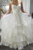 Simple Strapless Beach Wedding Dress with Lace,  Tiered Lace Up Back Wedding Dresses N1784