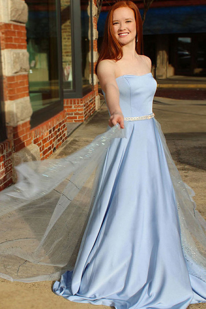 Strapless A Line Satin Prom Dress with Beading Waist, Unique Long Evening Dress