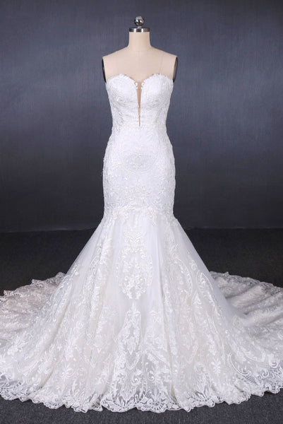 Mermaid Sweetheart Long Lace Bridal Dresses, Strapless Mermaid Lace Wedding Dress N2285