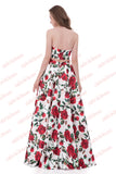 Two Pieces Strapless Red Floral A-line Floor-length Cheap Prom Gown,Formal Dress,N556