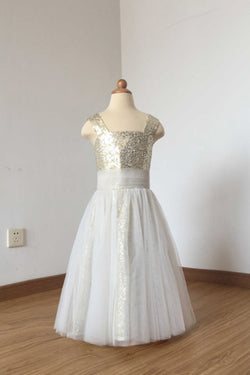 c8b0a314d7a Hot Beautiful Sequin Straps Ivory Tulle Floor Length Flower Girl Dress F033