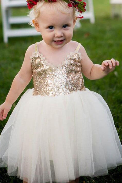 Ivory Straps V Neck Sleeveless Tulle Flower Girl Dresses with Gold Sequins F045