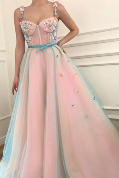 Princess Applique A-Line Spaghetti Straps Tulle Charming Prom Dress with Belt N1270