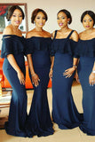 Navy Blue Mermaid Off Shoulder Ruffles Maid of Honor Gowns Bridesmaid Dresses N804