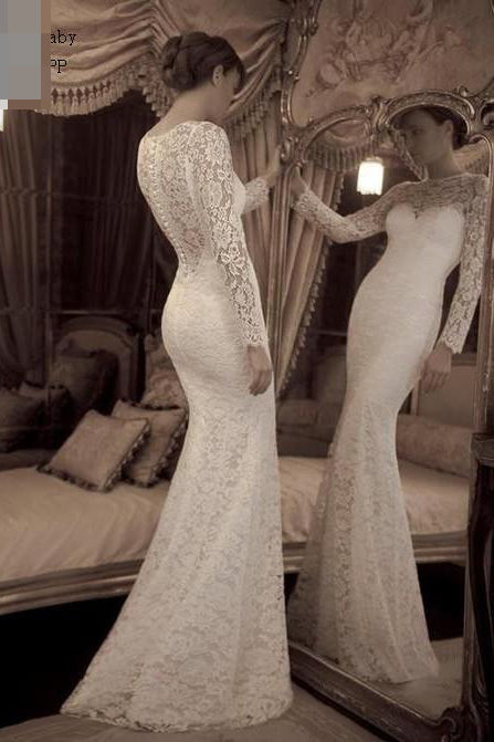 Vintage Ivory Trumpet Long Sleeves Lace Long Beach Wedding Dress,Lace Prom Gown,N544