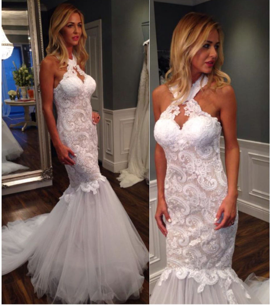 Mermaid Halter Sleeveless Tulle Wedding Dress with Lace Appliques,Long Bridal Dresses N944