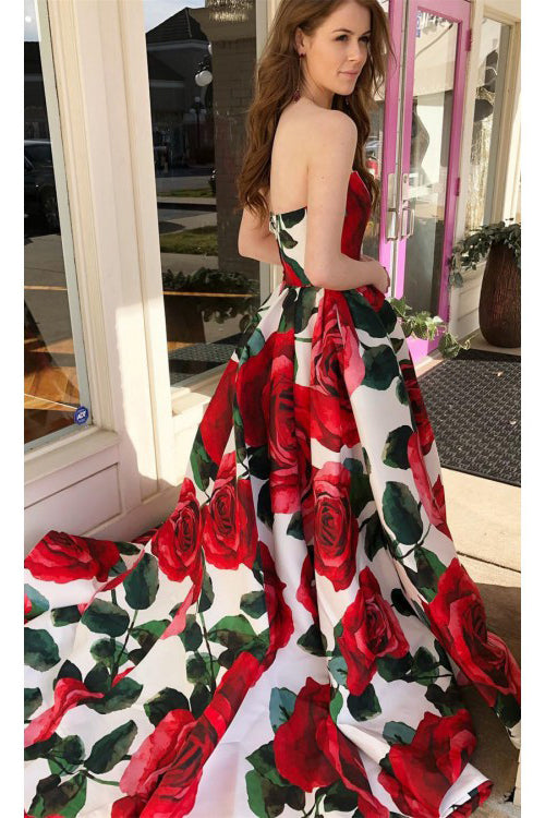 Princess Strapless Sleeveless Floral Long Prom Dress, Sweep Train Ruched Graduation Dress N836