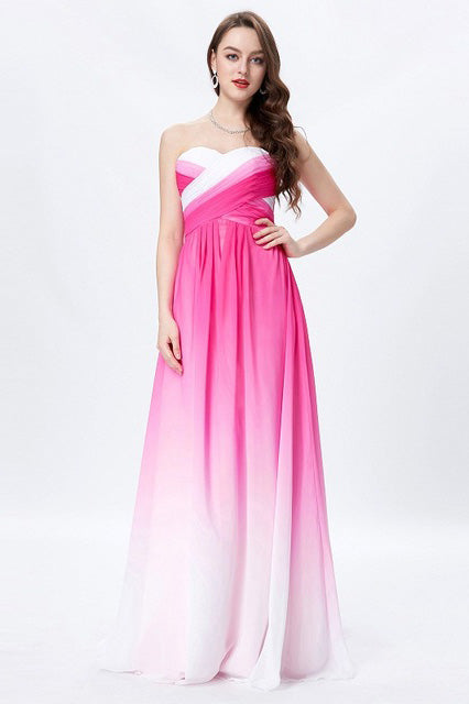 Hot Pink Ombre A-line Sweetheart Strapless Chiffon Floor Length Bridesmaid Dress,N665