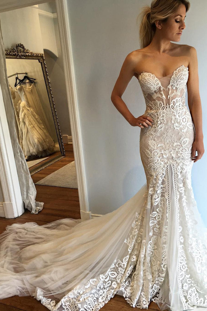 Strapless Mermaid Court Train Sweetheart Wedding Dress with Lace Appliques,N530