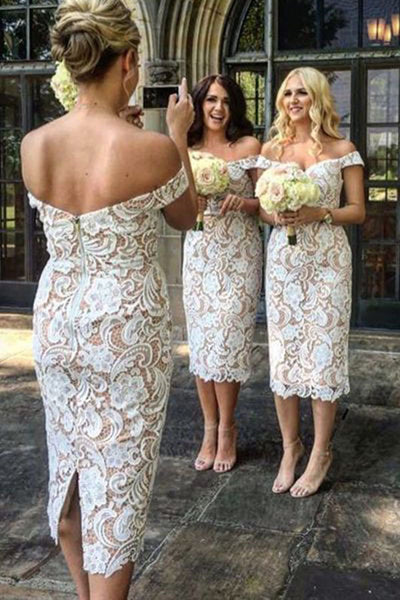 Elegant Sheath Off the Shoulder Tea Length White Lace Bridesmaid Dress N787