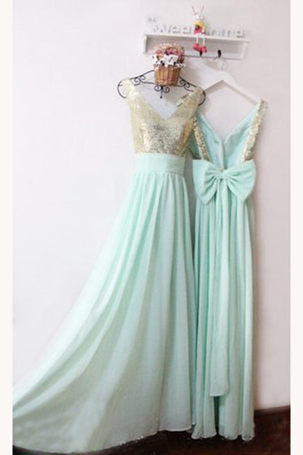 Tiffany Blue V Neck Backless Bridesmaid Dress, Sparkly Prom Dress with Bowknot N1127