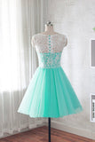 Fashion Round Neck A Line Short Homecoming Dress with Lace, Cheap Sweet 16 Dresses N992