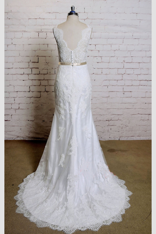 Sheath V Neck Sleeveless Lace Bridal Dress, Sweep Train Tulle Beach Wedding Gown with Sash N819