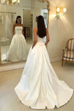 Cheap Strapless Satin Long Wedding Dress, A Line Satin Bridal Dress with Pockets N2633