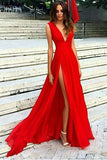 Split V-neck Red Evening Dress,Sexy Party Dresses with V Back,Sleeveless Chiffon Prom Dresses,N61