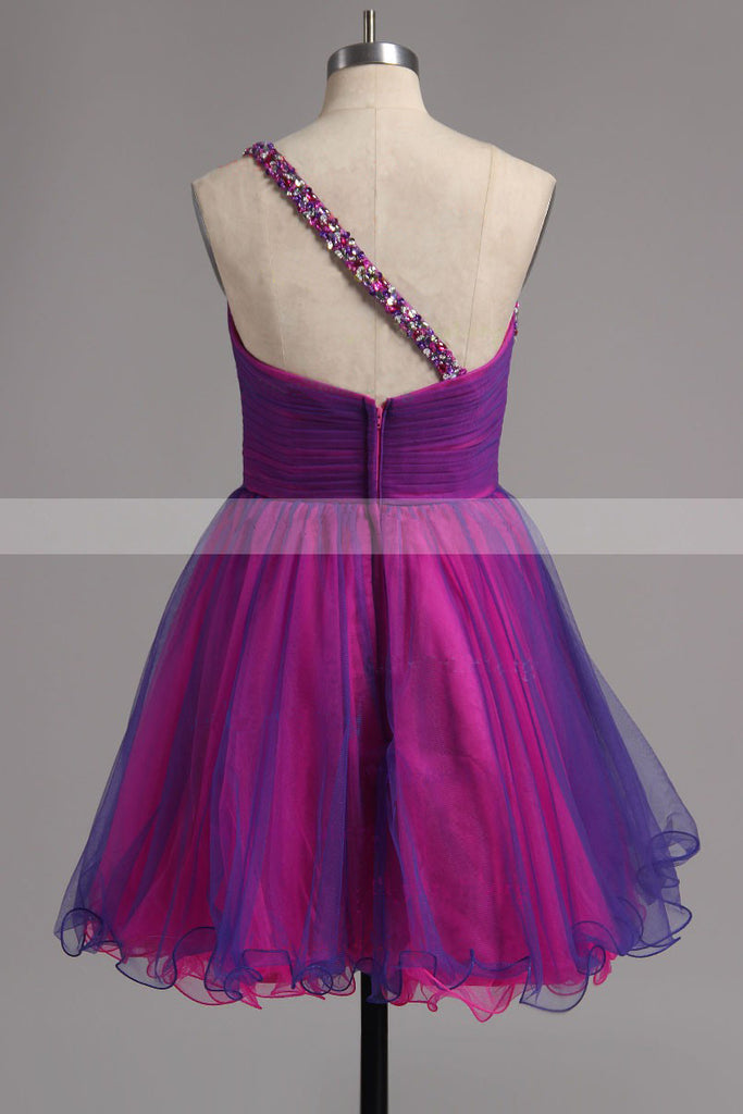A-line One Shoulder Tulle Short Ruffles Homecoming Dresses with Beads N1012