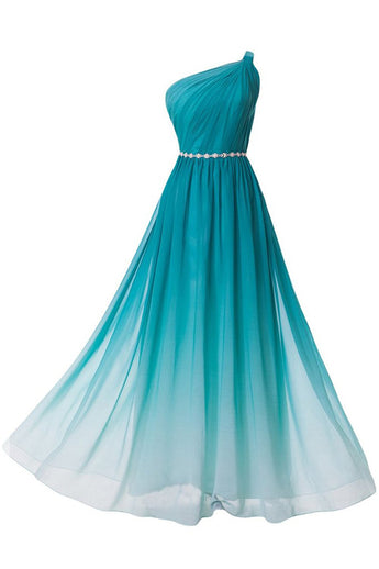 Turquoise Gradient Ombre One Shoulder Chiffon Ruched Dress with Beaded Embellished Belt,N670