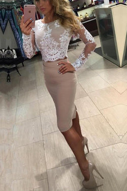 Two Piece Long Sleeves Lace Knee Length Homecoming Dress, Sheath Prom Dress