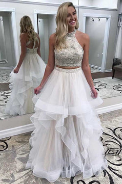Two Piece High Neck Prom Dress with Beading, Charming Floor Length Party Dress N1593