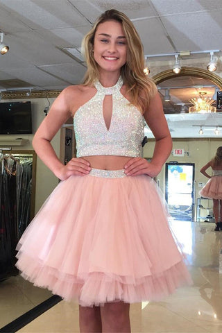 Two Piece Halter Above-Knee Pink Tiered Tulle Homecoming Dress with Beading