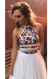 Two Piece High Neck Long Prom Dress with Appliques, Unique Sleeveless Party Dress N1719