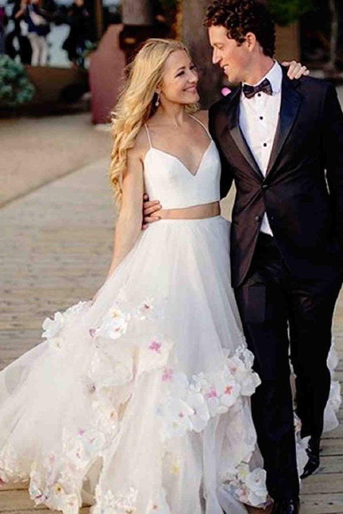 Stylish A-Line Two Piece Spaghetti  Tulle Long Prom/Wedding dress with Flowers,N571