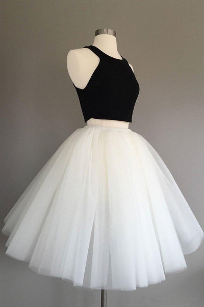 Two Piece Knee Length Ivory Tulle Dress with Black Top, Simple Cheap Prom Dresses