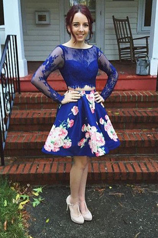 Royal Blue Two Piece Bateau Long Sleeves Floral Short Homecoming Dress with Lace