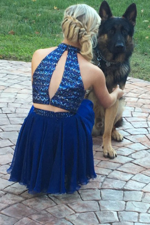 Luxurious Beading Two Piece Open Back Royal Blue Chiffon Short Homecoming Dress N843