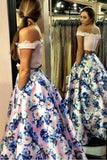 Two Piece Off the Shoulder Pink Floral Long Prom Gown,A-line Formal Dresses with Lace,N648