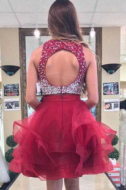 Two Piece Burgundy Homecoming Dress with Open Back, Sequined Short Prom Dress N943
