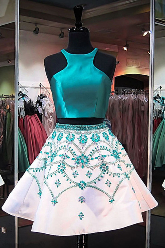 A Line Two Piece Turquoise Short Homecoming Dresses with Beading, Formal Short Prom Dresses
