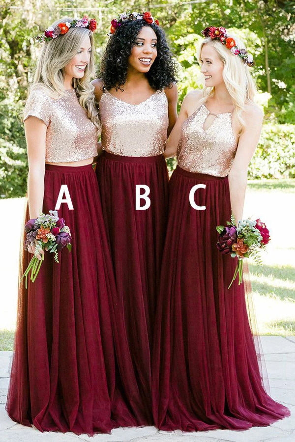 Stunning Two Piece Short Sleeves Burgundy Tulle Bridesmaid Dress with Sequins N2510